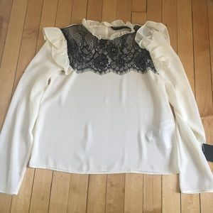 NWT Zara white blouse with lace accent